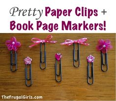 Pretty Paper Clips and Page Markers!  {this project is so simple, and these make great little gifts!}  #paperclips #thefrugalgirls