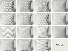 11 Sizes Available: One Grey & White Pillow Cover by Pillomatic