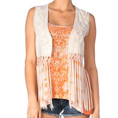Bring on the country charm in this eyelet lace and fringe vest by Miss Me! #countrychic #festival