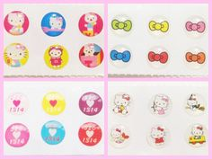 24x Hello Kitty Home Button Stickers for iPhone/iPad/iPod (4 packs) iPhone6 5 4