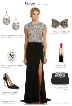 This wedding outfit featuring a black beaded top evening gown is the perfect look for a black tie wedding, winter gala, or formal gown for a mother of the bride for an evening formal wedding. Black Tie Wedding Guests, Black Tie Wedding Guest Dress, Wedding Dress, Wedding Black, Trendy Wedding, Formal Wedding Attire, Black Tie Attire, Beaded Evening Gowns, Shower Outfits