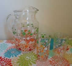 Vintage Polka Dot Glass Pitcher and two Glasses  Red,Orange, Green and White Polka Dots. $28.00, via Etsy. // CUTE!!