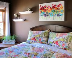 Love the use of crochet flowers on canvas to create wall art! CROCHET PATTERN Floral Fantasy 5 yummy flowers and by TheHatandI