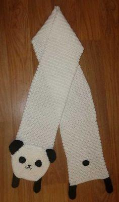 Panda scarf pattern by Kulukala Art Crochet Panda, Crochet Gratis, Crochet For Kids, Free Crochet, Knit Crochet, Bonnet Crochet, Crochet Beanie, Crochet Patron, Crochet Cross