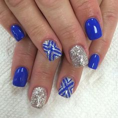Blue, Silver and White Nail Art for Summer New Nail Art, Easy Nail Art, Cool Nail Art, Winter Nail Art, Winter Nails, Summer Nails, Nail Art Designs, Short Nail Designs, Nails Design