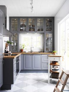 Ikea cabinets - gray.