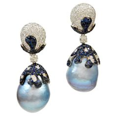 Fabulous Baroque Blue Pearl Sapphire Diamond Earrings