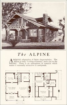 1922 Lewis Homes of Character - The Alpine; same one less details shown on floorplan Small House Plans, House Floor Plans, Rammed Earth Homes, Craftsman Bungalows, Craftsman Homes, Craftsman Kitchen, Vintage House Plans, Sims House, Cabin Plans