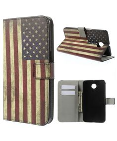Motorola Nexus 6 Lederen American Flag Flip Case