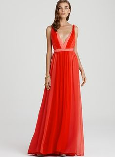 #halston gown - love the #color and the #plunge via #forlikenow