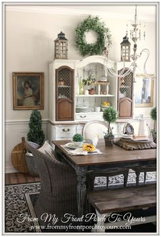 French Country Style Dining Room That cabinet with the unpainted doors is fabulous!