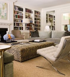 Large leopard ottoman & Barcelona chairs in a stylish family room by Allen Kirsch & Associates, Dallas My Living Room, Home And Living, Living Spaces, Modern Living, Home Goods Decor, Home Decor, Style At Home, Home Fashion, Family Room