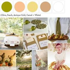 {Out for a Sunday Drive}: Olive, Peach, Antique Gold, Camel + White http://www.theperfectpalette.com/2011/07/out-for-sunday-drive-chartreuse-peach.html