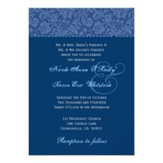 BLUE - The example shown is a  Navy Blue Swirl Damask Wedding Custom Invite. Browse this and more blue hued invitations.