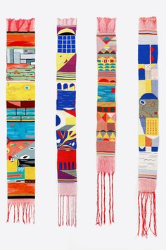 Hannah Waldron; Silk, Tencel and Cotton 'Map Tapestries', 2010s.