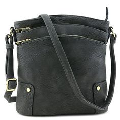 New Trending Cross Body Bags: Triple Zip Pocket Large Crossbody Bag Dark Gray. Triple Zip Pocket Large Crossbody Bag Dark Gray   Special Offer: $23.50      200 Reviews This multi pocket large size crossbody bag makes easy to organize your everyday items.10.5″ (W) x 11″ (H) x 3″ (D)Zipper closureAdjustable shoulder strap with 24″ dropFaux...