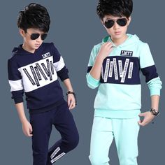 27.27$  Watch now - http://alityh.shopchina.info/go.php?t=32746504456 - 2016 New Big Boy Clothes Suit Letter Pattern Kid Long Sleeve Hoodies + Pants High Quality Cotton Children Clothing Set  #buymethat