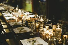 Floating Candles, Mercury Glass, and Farm Tables for a Family Style Reception | Anastasia Photography | See More! http://heyweddinglady.com/luxe-snowy-winter-wedding-from-anastasia-photography/