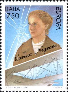 """1996 - """"Europa Unita"""":  Donne famose: l'aviatrice Carina Negroni (1911-1991) fu la prima donna italiana a conseguire nel 1933 il brevetto da pilota rilasciato dalla RUNA, la Reale Unione Nazionale Aeronautica."""