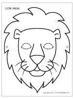 Lion mask coloring sheet