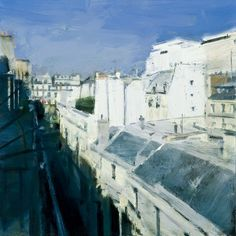 Ben Aronson,   Rooftops, Paris, 2009 oil on panel, 12 x 12 inches