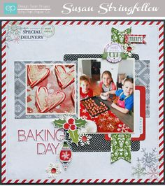 2 photo 1 page Baking Day Layout from Tis the Season Collection. #echoparkpaper