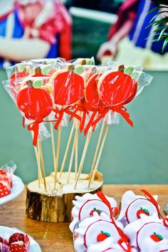 Aplle cookie pops at a Snow White themed birthday party via Kara's Party Ideas KarasPartyIdeas.com Printables, favors, cake, recipes, games, and more! #snowwhite #snowwhiteparty #sevendwarfs