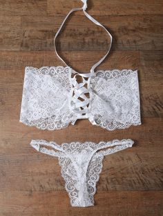 $14.99 Unlined Lace Bandeau Bra And Panty WHITE: Nightwear | ZAFUL