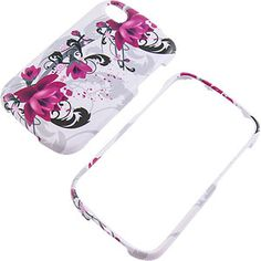 Purple Flowers White Protector Case for BlackBerry Q10