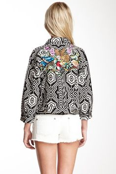 printed and embroidered jacket