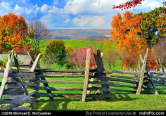 Distant Laurel Hill with Rustic Fence at Somerset Picture