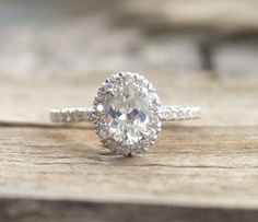 Oval White Sapphire & Diamond Halo Engagement Ring in 14K White Gold