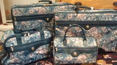 Vintage Floral Brocade Tapestry JAGUAR Luggage Set - http://oleantravel.com/vintage-floral-brocade-tapestry-jaguar-luggage-set