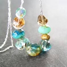 Sea Blue Aqua Necklace Sterling Silver Artisan by DorotaJewelry