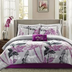 9 Piece Purple Complete Comforter Bedding Set Bed in a Bag Only 10 In Stock Order Today! Product Description: Outfit your bed from headboard to foot board with this nine-piece bed set made of easy-car Full Comforter Sets, Bedding Sets, King Comforter, Gray Comforter, Floral Comforter, Coverlet Bedding, Queen Bedding, Dorm Bedding, Pillow Shams