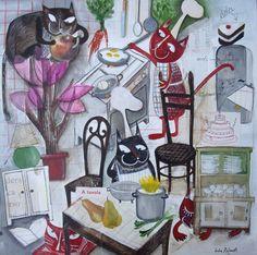 cocinando, ilustración de Lucia Rafanelli