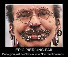 Epic Piercing Fail  fail  piercings  bodymods MoreEpic Fail Piercings