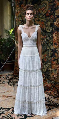 lihi hod bridal 2016 scarlet romantic bohemiand wedding dress self tie straps sleeveless bodice multi lace skirt boho chic / http://www.deerpearlflowers.com/beautiful-bohemian-wedding-dresses/
