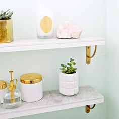 Marbled decor for half the price! Learn how to make your own marble shelving.