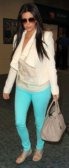 Kim Kardashian:  Jeans – Black Orchid    Purse – Hermes    Sunglasses – Chanel    Shoes – Givenchy