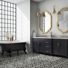 The Reserve Cementina Black and White Ceramic Floor and Wall Tile... ($1.50) ❤ liked on Polyvore featuring home, home decor, black and white home accessories, black and white home decor, ceramic home decor and black white home decor