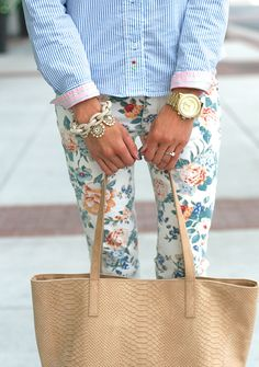 floral pants + preppy oxford! not to mention all the pretty jewels..