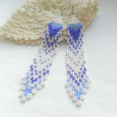 Extra Long Beaded Earrings Seed Bead Dangle Earrings Long Ethnic Earrings With Fringe Beadwoven Long Earrings Extralong Blue Earrings White