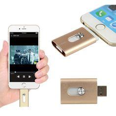 New 32GB Gold USB i-Flash Drive U Disk 8 pin Memory Stick Adapter For iPhone 5S 6S plus iPad