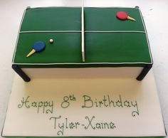 Perfect cake forsomeonewho loves their table tennis.  Choose between chocolate or Vanilla Genoese inside the cake.  Add your specialmessage too.  Approximately 30-35 portions.