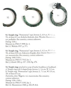 Bronze temple rings found in: Kobylin-Kuleszki Zakrzewo-Kopijki amd Żarnówka Poland. Culture: Slavic (West Slavs - early Polish state / Piast dynasty) Timeline: century / turn on centuries / turn of Medieval Jewelry, Viking Jewelry, Viking Age, W 6, Bronze Age, Writing Inspiration, Archaeology, Bracelets, Nature