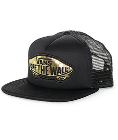 Celebrate the golden anniversary with the luxe styling of the Beach Girl 50th black and gold trucker hat from Vans. This classic style trucker hat comes in an all black colorway accented with a gold foil Vans Off The Wall patch at the front for an iconic
