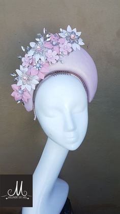 Millinery By Mel design  Leather halo with white,pink and silver embellishments