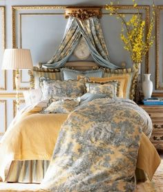 Blue Toile Bedroom French country    I LOVE THE COLORS and everything about this room....