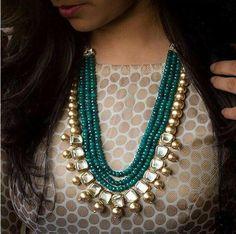 VeroniQ Trends- Designer Multistrand Necklace Set in Faux Emerald Stones and Kundan,Polki Stones-D83